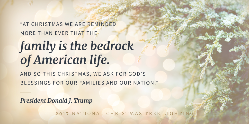 At Christmas tree lighting, President Trump revives the tradition's religious spirit  BY THE WHITE HOUSE