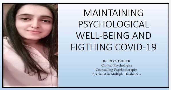 Maintaining Psychological Well- Being and Fighting COVID-19; by Riya Dheer