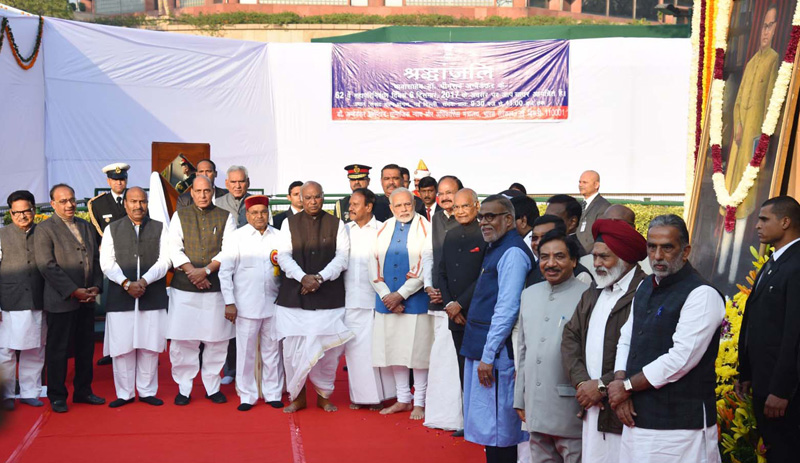 President, PM of India and other Ministers pay homage to Dr.Ambedkar