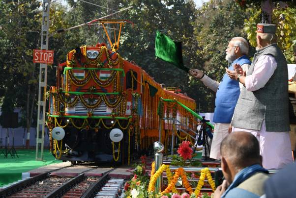 PM visits Varanasi  Flags off first ever Diesel to Electric Converted Locomotive