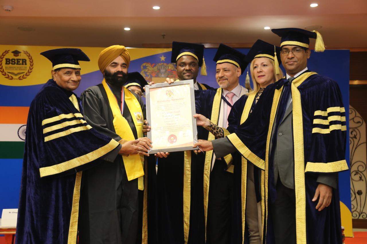 Ballsbridge University awards PhD and Gold Medal to S. Manmeet Singh,  Chairman Ranjit College of Education Jammu,   Story by Dr Ramesh C Raina