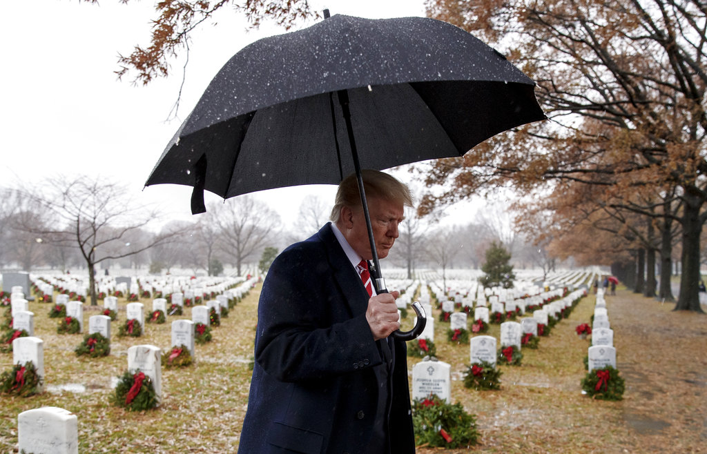 Pres. Trump Participates In 'Wreaths Across America' Event At Arlington National Cemetery